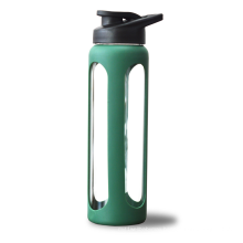 1000ml Eco Sports Glass Silicone Sleeve Water Bottle with Flip Top