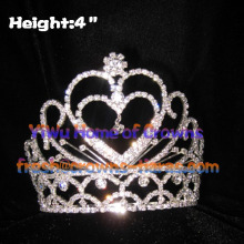 Heart Shaped Crystal Pageant Crowns In 4inch Height