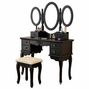 Black Dressing Set Stool Beauty 5 Organization Drawers Makeup Table Three Mirror Vanity Set White