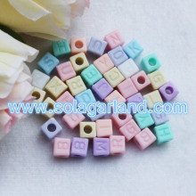 6.5x7mm Acrylic Mix Alphabet Letter Square Cube Beads Charms DIY Pick