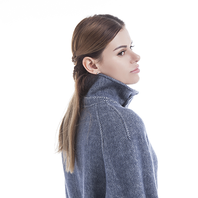 Standing collar cashmere coat profile