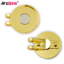 Cheap metal oro imán golf hat clips con marcador de bola
