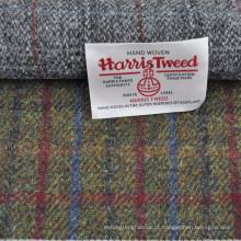 Best selling design vermelho azul overcheck 100% lã harris tweed tecido blazer