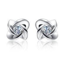 Princesa Corte Diamante 925 Plata Stud Earrings Joyería para las mujeres