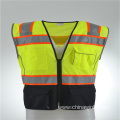 High Visibility Heavy Duty Reflective Vest with Contrast Black Knitted