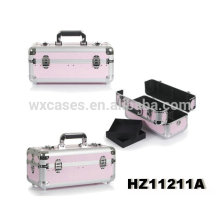 hot sales aluminum cosmetic case with 2 removable trays inside