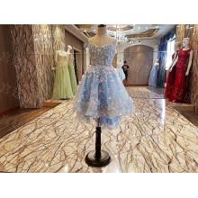 LS00099 strapless appliques short blue flower baby girl dresses kids evening gowns