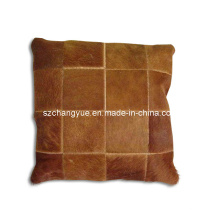 Natural Leather Cowhide Patch Pillow Covers