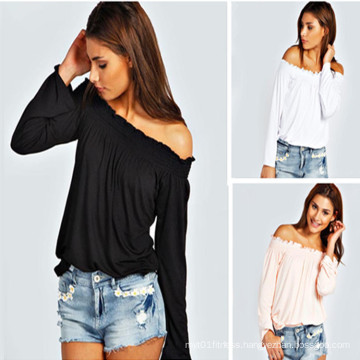 off Shoulder T Shirt Autumn Fashion Long Sleeve Pure Color Tops