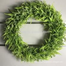 Hermosa forma redonda hojas artificiales colgando guirnalda para la decoración del hogar