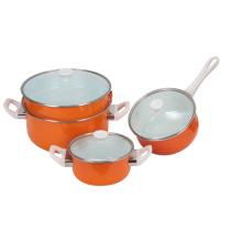 4шт эмали в сочетании горшка два горшка пролив и две кастрюли с оранжевой наклейки