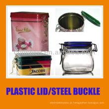 hermética lata com tampa plástica e fivela de aço anel