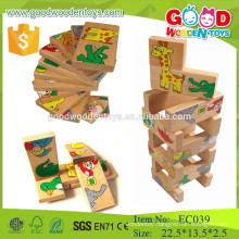 2015 New animal wooden puzzle domino game toys for children