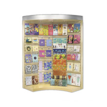 Slatwall Wood Arc Top Illuminated Display Stand, Book Store Lighted Display Stand For Greeting Card
