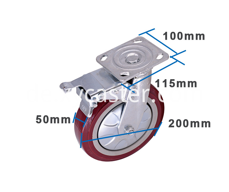 Red 8 Inch Swivel Caster With Brake