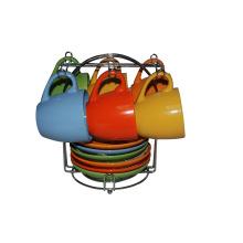 Чашки и блюдца с металлической подставкой (91006-006)