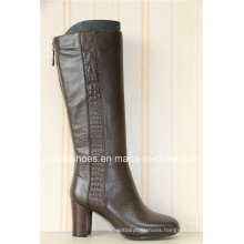 Trendy Thick High Heels Leather Women Boots