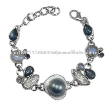 Natural Kyanite Iolite Labradorite Pearl Rainbow Moonstone & Blister Pearl Gemstone with 925 Sterling Silver Bracelet