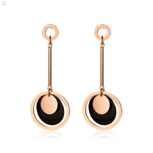 Rose Gold Black Drop Statement Chandelier Earrings