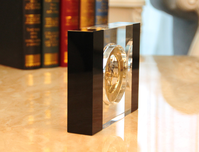 Acrylic Square Tabletop Clock With Black Edge