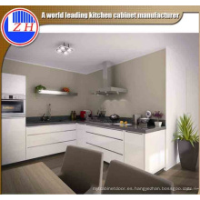 Muebles Modernos de Cocina de Fibra de Acero Laca Blanca de Alto Brillo con Piedra de Encimera