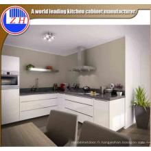 Modern High Glossy White Lacquer Flat Pack Fibre Meubles de cuisine avec la pierre de comptoir