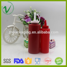 Silk Screen Printing Surface LDPE Cylinder Empty Ketchup Squeeze Plastic Bottle for food usage