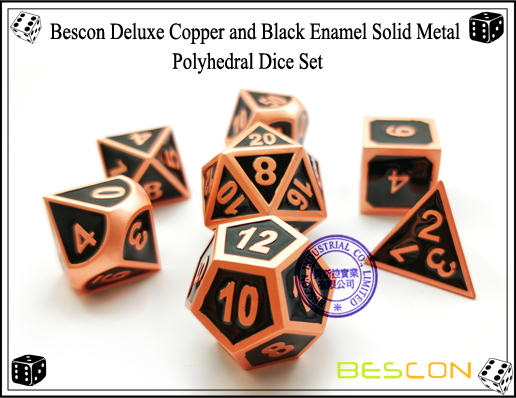 Bescon Deluxe Copper and Black Enamel Solid Metal Polyhedral Role Playing RPG Game Dice Set (7 Die in Pack)-3