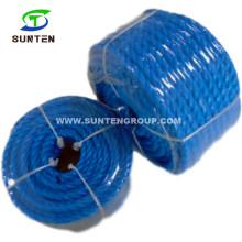 3 Strand Shirked Twisted/Twist Blue PP/Polypropylene Splitfilm/Split Film Rope for Supermaket