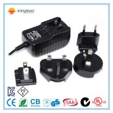 18W 24V 0.75A Adaptador médico intercambiável de alta confiabilidade AC / DC