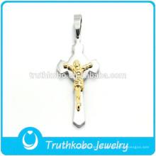 Metal brillante al por mayor Cristiano Chapado en oro Jesús Cruz de plata Pulido alto Cruz Jesus Sideway Colgante