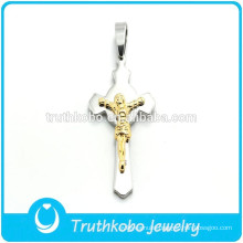 Metal Shiny Wholesale Christian Gold Plated Jesus Silver Cross High Polish Cross Jesus Sideway Pendant