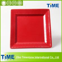 Keramische rote Rose Farbe Glasierte Platte (4082902)