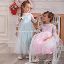 Beautiful color satin fabric tulle princess fashion 3-5 year old girl dress for wedding party dress