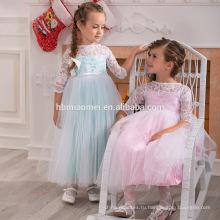 Красивый цвет-сатин тюль принцесса моды 3-5 летний девушка платье для свадьбы партии платья