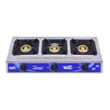 Big Three Burners Gas Stove, Blue Fire, Stainless Steel Panel
