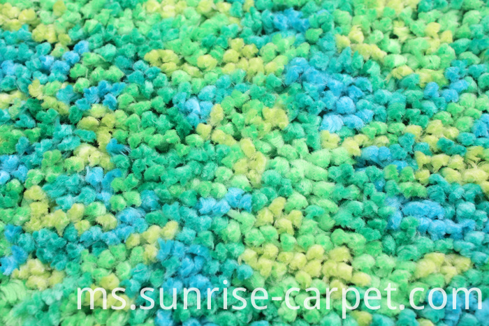 Polyester Rugs with spac dyed yarn green