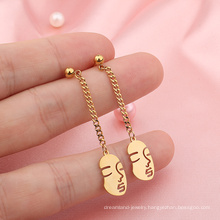 Wholesale Jewelry Stainless steel Minimalist Abstract Women's Face Gold Chain Post Fashion Earrings