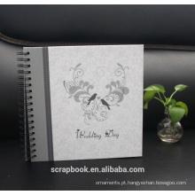 Flor de bordado de álbuns de foto, amor preto costurado Leatherette Frame capa álbum