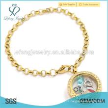 New gold ladies stainless steel floating locket charms bracelet, pearl chain bracelet