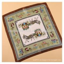 53x53cm 100 mano de seda impresa bufanda caballo elegante