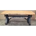 Industrial Crank Table Metal Rivets Black Color Mango Wood Top