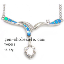 Collier de bijoux-mode argent opale (YN00013)