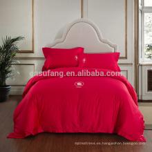2017 Alibaba Proveedor 4 unids Home Textil de Algodón 3d Rosa Juego de Cama de Impresión 3d Funda Nórdica Juego de Cama Clásico Hecho en China