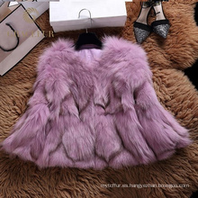 Invierno verdadero del abrigo de pieles del zorro de la buena capucha del precio para la mujer