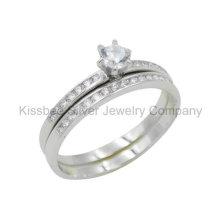 Bijoux en argent 925, double anneau à doigts, anneau en laiton (KR3038)