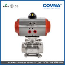 Ball válvula de acero inoxidable proveedor actuador neumático con 3 PC Válvula de bola de acero inoxidable