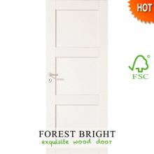 Porta de madeira interior Prefinished Prehung branco com moldura