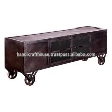 Industrial Dark Metal 4 doors and caster wheels TV stand