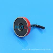 Red Ferrite Ceramic pot magnet with hook